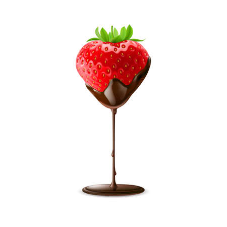 Strawberry in Chocolate Trickle Isolated White Background