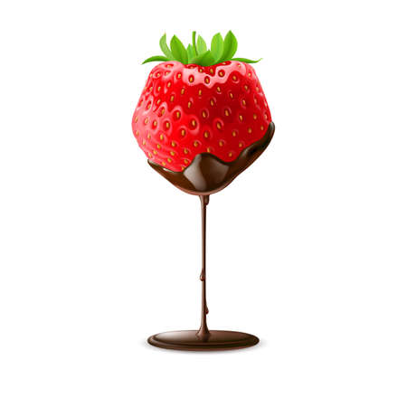 Strawberry with Green Leaves in Chocolate Trickle on White Background Illustration