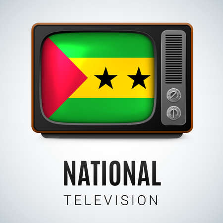 principe: Vintage TV and Flag of Sao Tome and Principe as Symbol National Television. Button with flag design