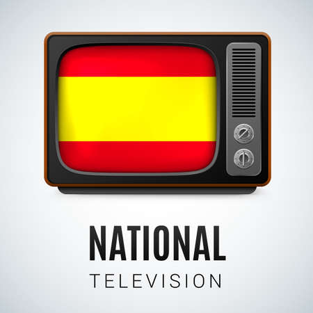 Vintage TV and Flag of Spain as Symbol National Television. Button with Spanish flag Illustration