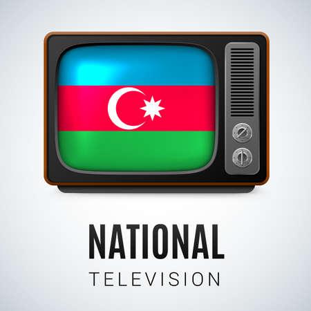 azerbaijanian: Vintage TV and Flag of Azerbaijan as Symbol National Television. Button with Azerbaijanian flag Illustration