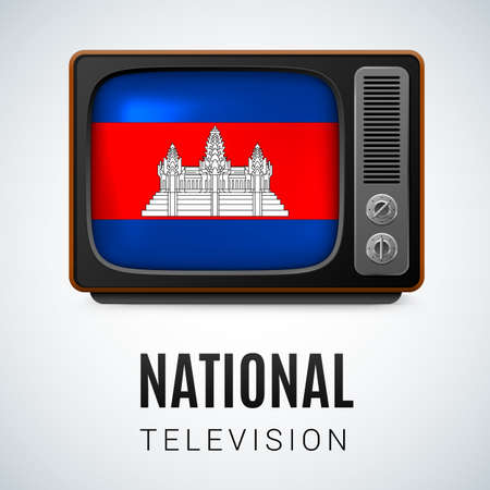 cambodian flag: Vintage TV and Flag of Cambodia as Symbol National Television. Button with Cambodian flag