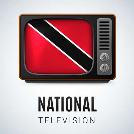 vintage colors: Vintage TV and Flag of Trinidad and Tobago as Symbol National Television. Button with flag colors Illustration