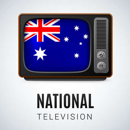 Vintage TV and Flag of Australia as Symbol National Television. Button with Australian flag