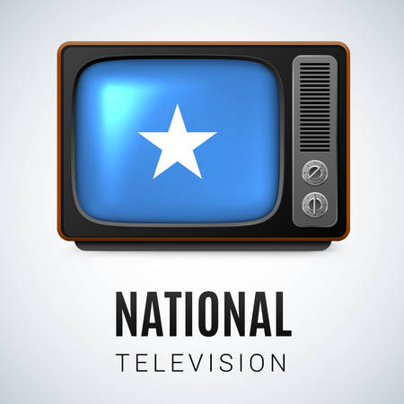 somalian: Vintage TV and Flag of Somalia as Symbol National Television. Button with Somalian flag