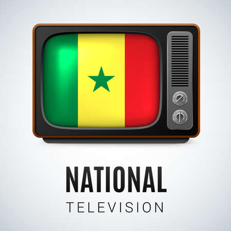 senegalese: Vintage TV and Flag of Senegal as Symbol National Television. Button with Senegalese flag Illustration