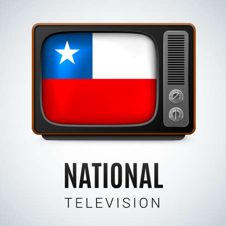 chilean: Vintage TV and Flag of Chile as Symbol National Television. Button with Chilean flag