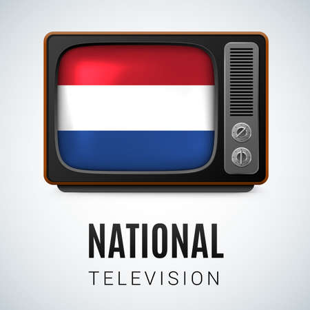 dutch flag: Vintage TV and Flag of Netherlands as Symbol National Television. Button with Dutch flag