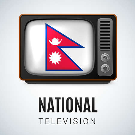 Vintage TV and Flag of Nepal as Symbol National Television. Button with Nepalese flag