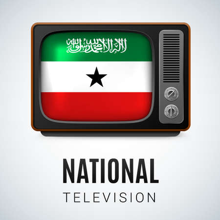 national colors: Vintage TV and Flag of Somaliland as Symbol National Television. Button with flag colors