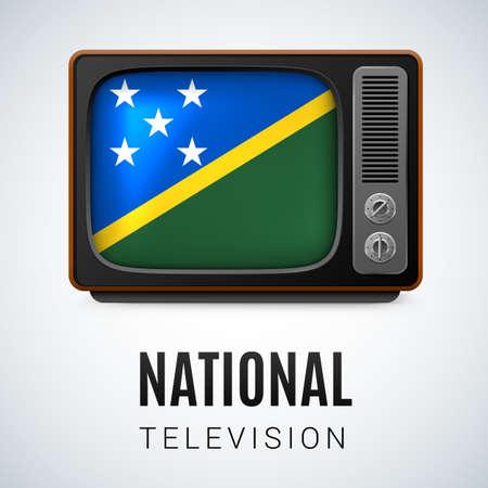 solomon: Vintage TV and Flag of Solomon Islands as Symbol National Television. Button with flag design Illustration