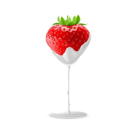 sour cream: Fresh Strawberries in Sour Cream. Illustration on White for Creative Design Illustration