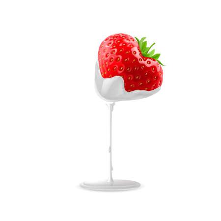 sour cream: Cream Pouring from Ripe Strawberries Illustration for Design Illustration