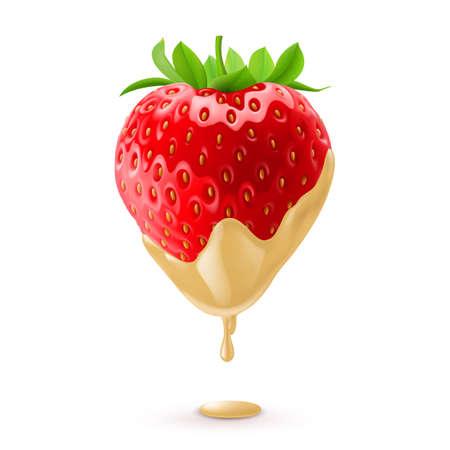 Big Fresh Strawberry Dipped in White Chocolate Fondue  イラスト・ベクター素材