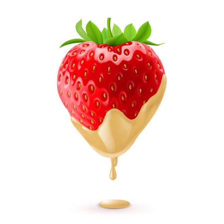 Big Fresh Strawberry Dipped in White Chocolate Fondue 矢量图像