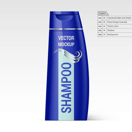 foam box: Violet Bottle of Shampoo With Lable over White Background Isolated Vector Layers Mockup Illustration
