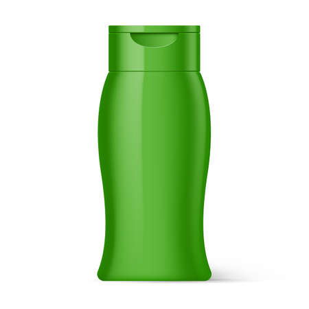 foam box: Green Bottle Plastic Shampoo Packaging Isolated on White Background