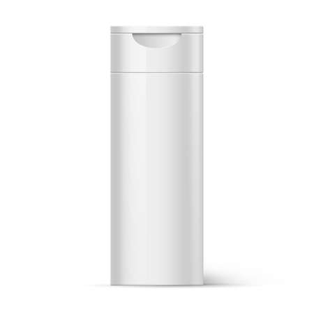 foam box: White Plastic Bottle Shampoo Packaging Isolated at White Background