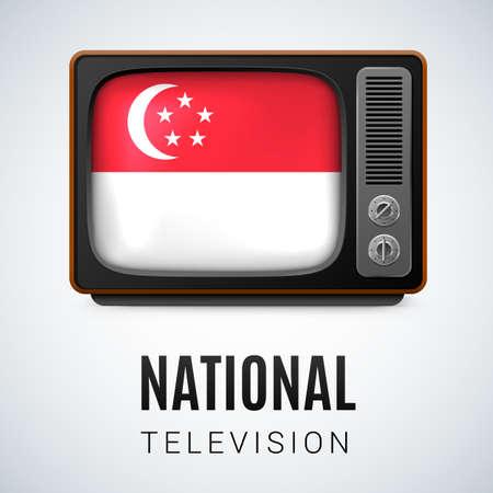 singaporean flag: Vintage TV and Flag of Singapore as Symbol National Television. Tele Receiver with Singaporean flag