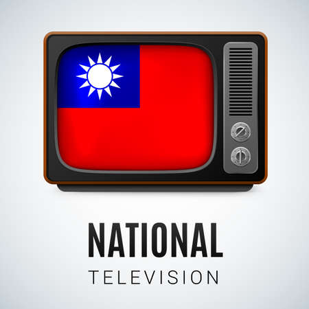 Vintage TV and Flag of Taiwan as Symbol National Television. Tele Receiver with flag design Illustration