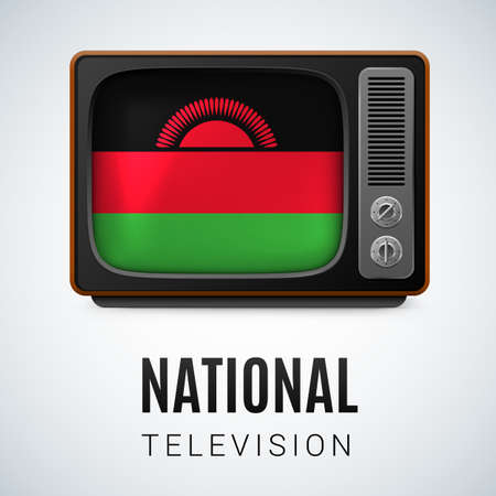 malawian flag: Vintage TV and Flag of Malawi as Symbol National Television. Tele Receiver with Malawian  flag
