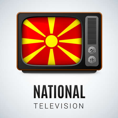 macedonian flag: Vintage TV and Flag of Macedonia as Symbol National Television. Tele Receiver with Macedonian flag
