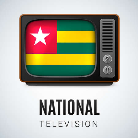 togo: Vintage TV and Flag of Togo as Symbol National Television. Tele Receiver with Togolese flag