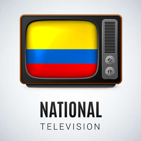 colombian: Vintage TV and Flag of Colombia as Symbol National Television. Tele Receiver with Colombian flag