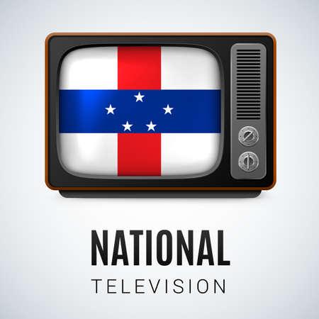 antilles: Vintage TV and Flag of Netherlands Antilles as Symbol National Television. Tele Receiver with flag design Illustration