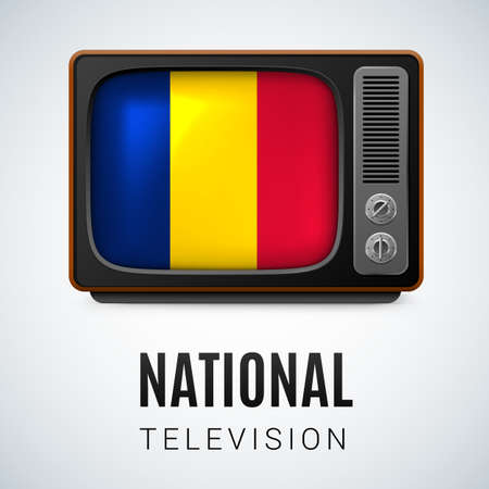 chadian: Vintage TV and Flag of Chad as Symbol National Television. Tele Receiver with Chadian flag