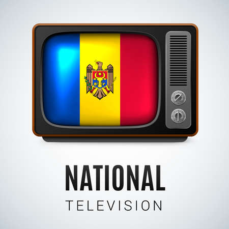 moldovan: Vintage TV and Flag of Moldova as Symbol National Television. Tele Receiver with Moldovan flag Illustration