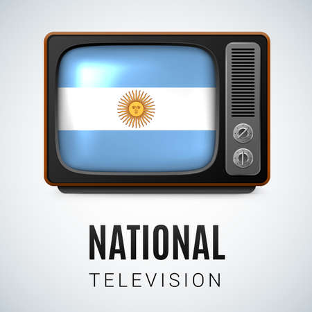 argentinian flag: Vintage TV and Flag of Argentina as Symbol National Television. Tele Receiver with Argentinian flag Illustration