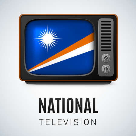 Vintage TV and Flag of Marshall Islands as Symbol National Television. Tele Receiver with flag design