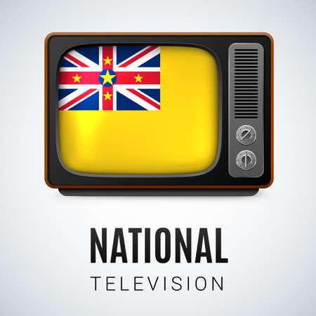 niue: Vintage TV and Flag of Niue as Symbol National Television. Tele Receiver with Niuen flag Illustration