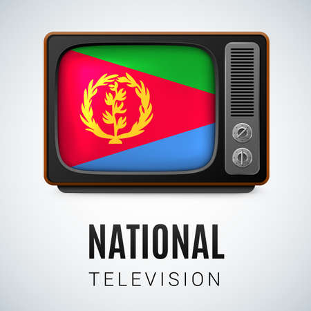 eritrea: Vintage TV and Flag of Eritrea as Symbol National Television. Tele Receiver with Eritrean flag Illustration