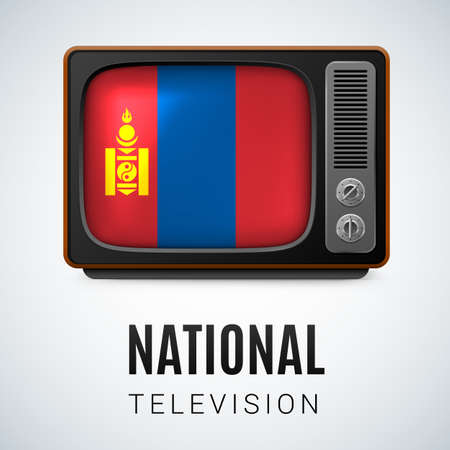 mongolia: Vintage TV and Flag of Mongolia as Symbol National Television. Tele Receiver with Mongolian flag