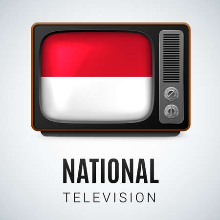 monegasque: Vintage TV and Flag of Monaco as Symbol National Television. Tele Receiver with Monacan flag Illustration