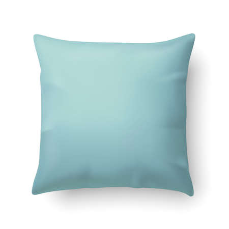 Close Up of a Aquamarine Pillow Isolated on White Background