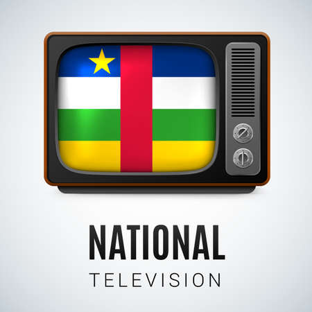 national colors: Vintage TV and Flag of Central African Republic as Symbol National Television. Tele Receiver with flag colors