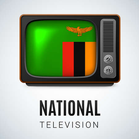 zambian: Vintage TV and Flag of  Zambia as Symbol National Television. Tele Receiver with  Zambian flag