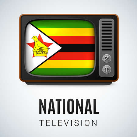 world receiver: Vintage TV and Flag of Zimbabwe as Symbol National Television. Tele Receiver with Zimbabwean flag