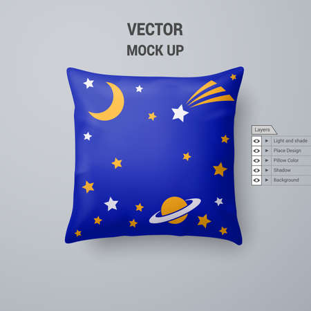 Blue Pillow with Space Pattern Isolated on White Background Иллюстрация