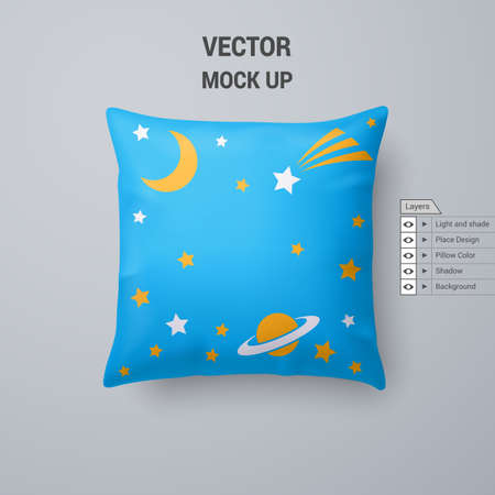 Cyan Pillow with Space Pattern Isolated on White Background