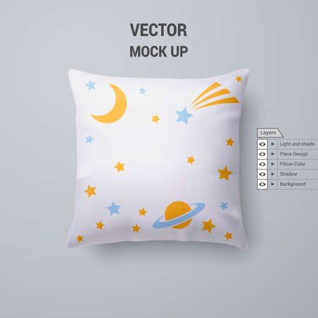 White Pillow with Space Pattern Isolated for Design