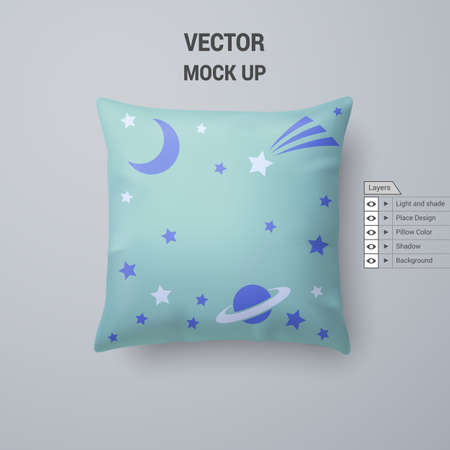 Aquamarine Pillow with Space Pattern Isolated on White Background Иллюстрация