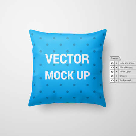 Mock Up of a Cyan Pillow Isolated on White Background Иллюстрация
