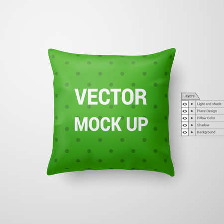 Mock Up of a Green Pillow Isolated on White Background