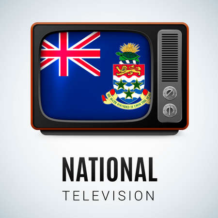 cayman: Vintage TV and Flag of Cayman Islands as Symbol National Television. Tele Receiver with flag design