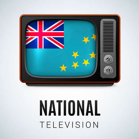 smallest: Vintage TV and Flag of Tuvalu as Symbol National Television. Tele Receiver with Tuvalu flag