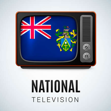 pitcairn: Vintage TV and Flag of Pitcairn Islands as Symbol National Television. Tele Receiver with Pitcairn Islands flag Illustration